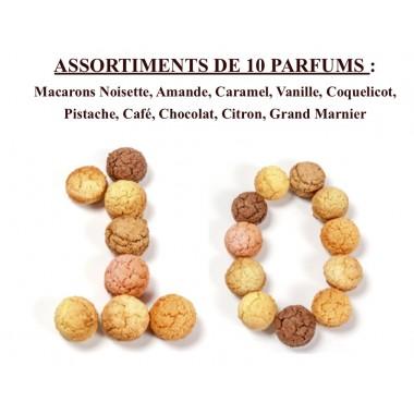 Macarons Noisette, Amande, Caramel, Vanille, Coquelicot, Pistache, Café, Chocolat, Citron, Grand Marnier Coffret 24 pièces