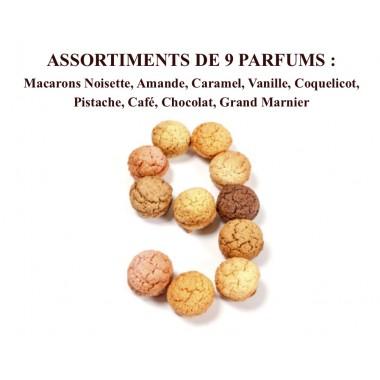 Macarons Noisette, Amande, Caramel, Vanille, Coquelicot, Pistache, Café, Chocolat, Grand Marnier Coffret 18 pièces