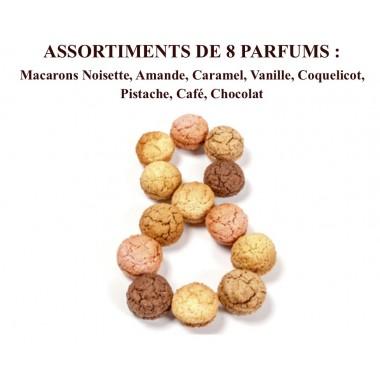 Macarons Noisette, Amande, Caramel, Vanille, Coquelicot, Pistache, Café, Chocolat Coffret 18 pièces