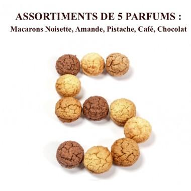 Macarons Noisette, Amande, Pistache, Café, Chocolat Coffret 18 pièces
