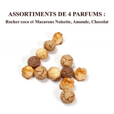 Rochers Coco, Macarons Noisette, Amande, Chocolat Coffret 18 pièces